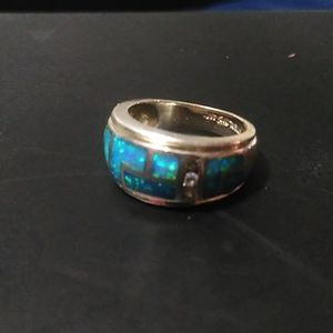 Stunning Opal & Diamond Inlaid Ring